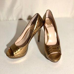 Vince Camuto Metallic Gold Janeese Peep Toe Heels